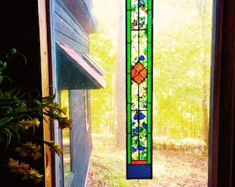 Stylish stained glass panel gift home decor stained glass window suncatcher window treatment