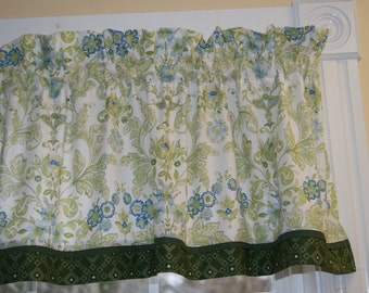 """Gray Sky Marinanna Green Blue White Floral Toile Valance 17"""" x 44""""  Can Alter Curtain Window Treatment"""