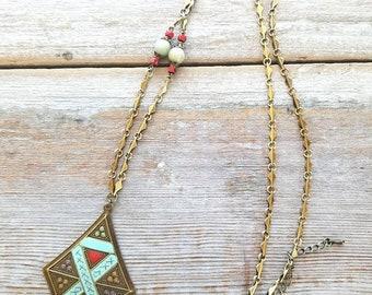 Brass Boho Necklace - Boho Jewelry Set - Boho Brass Earrings - Necklace and Earring Set Boho - Brass Gemstone Necklace