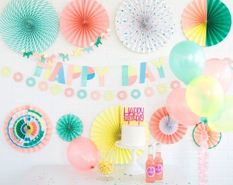 8 Neon Paper Rosettes   80's theme party decorations wall covering bachelorette birthday bridal shower 30th birthday 21st photo prop
