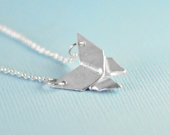 Origami Necklace - Small Butterfly Necklace - Dainty Minimal Necklace Folded Butterfly