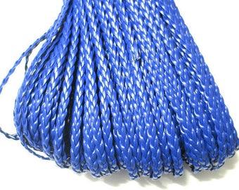 5 m blue imitation leather braided 5x2mm