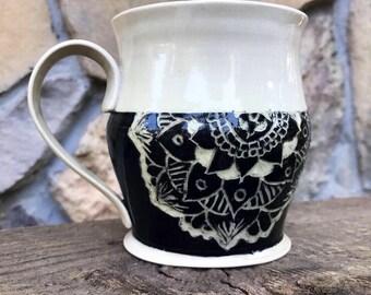 15 oz Sgraffito Mandala Mug