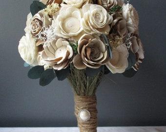 Rustic Sola Wood Flower Wedding Bouquet
