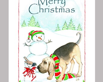 Bloodhound Christmas Cards Box of 16 Cards and Envelopes