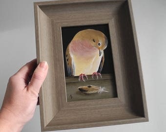 Mourning Dove with feather - dove painting - grief - morning dove - pretty bird decor - turtle dove art - loss