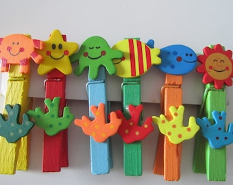 set of 6 clothespins wooden sea themed
