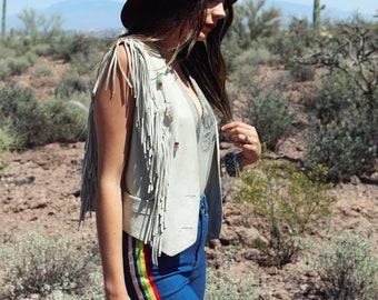 Vintage Fringe Western Vest with Colorful Beaded Detailing