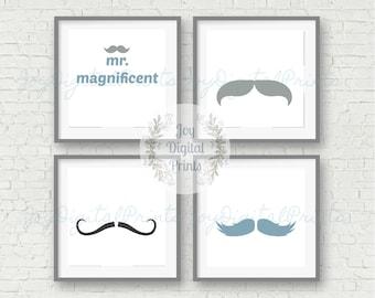 Nursery Set Prints, Boy, Boy's Nursery, Child Room Prints, Digital Wall Art, Mustache, Boy, Mr. Magnificent, Blue, Grey