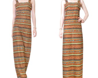 Cotton print Office evening long dress (M45)