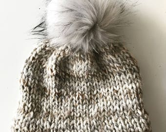 The Double-Brim Fur-Baby Beanie | Knit Winter Toque | Fur Pom Pom Hat | Double Brim Beanie