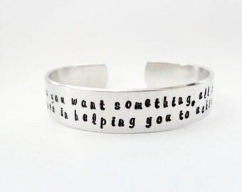 Personalized Hamsa Cuff Bracelet - Custom Cuff Bracelet - Affirmation & Inspirational Cuff Bracelet / Personalized Gift