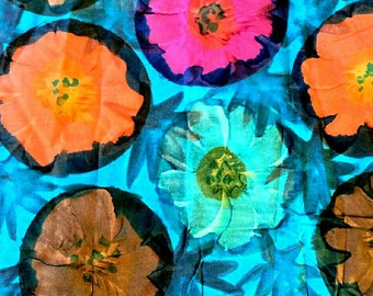 Large Floral Print, Tropical Flowers Cotton Print Fabric 2 3/4 Yards X0536