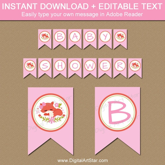 Woodland Baby Shower Decorations Pink Fox Baby Shower Banner