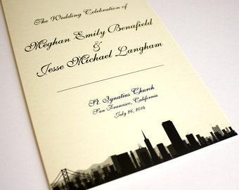 San Francisco Ceremony Program Wedding Folded Skyline Custom Other Cities Available State Wedding