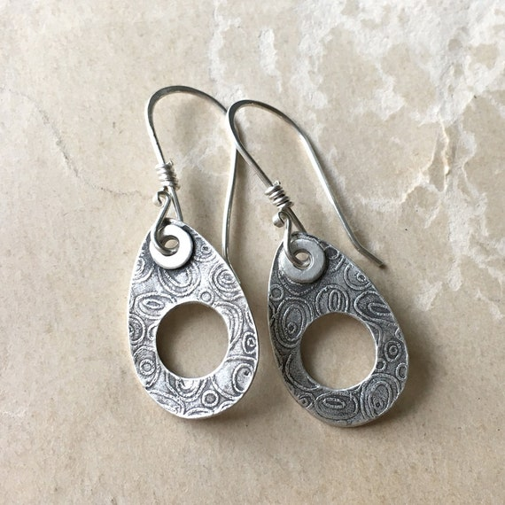 Textured Earrings, Lightweight Earrings, Everyday Jewelry, Artisan Silver