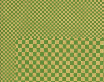 Paper Japanese 42.5x29 cm green and gold patterned geometric checkered