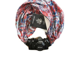 Red White and Blue Diamond Print Camera Strap with Lens Pocket -  The Original Camera Scarf Strap With Hidden Pocket