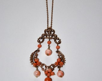 Vintage pink Vermeil and Coral beads necklace