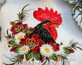 Machine Embroidery Design Rooster in a thicket of flowers - 2 sizes