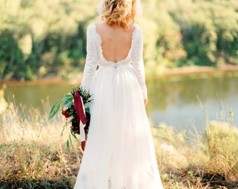 Romantic silk batiste and lace lining wedding dress