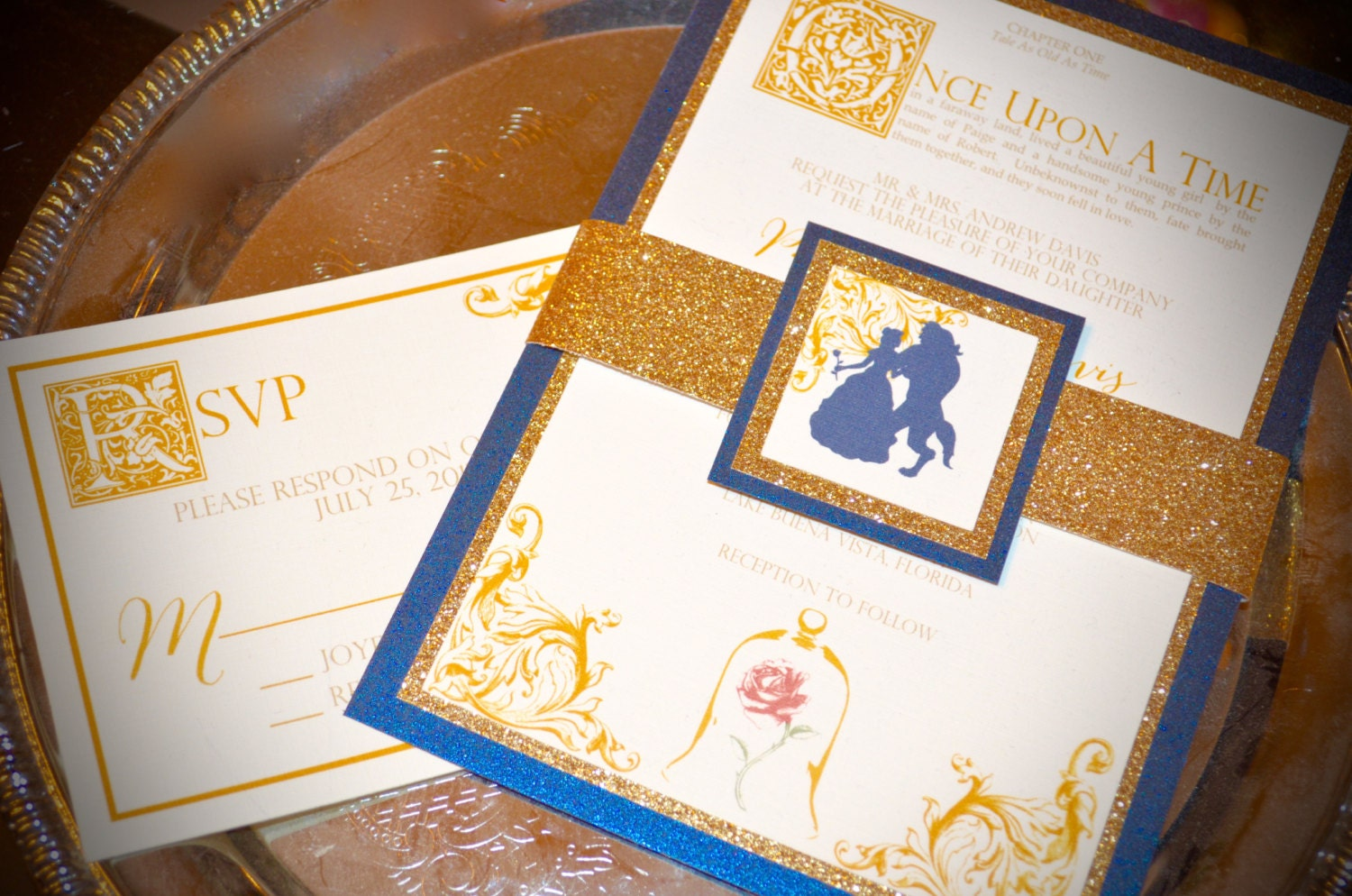Fairy Tale Wedding Invitations Beauty and the Beast Glitter Belly