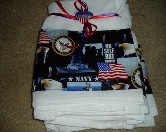Flour Sack Dish Towel/ U S Navy