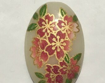 Pink cherry blossom Japanese tensha acrylic pendant