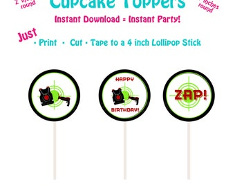 Printable Cupcake Toppers  Printable Laser Tag Cupcake Toppers