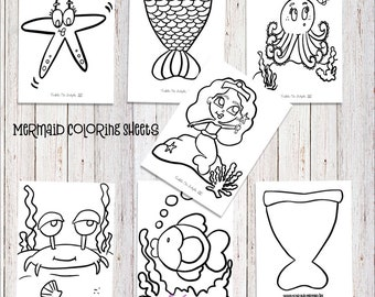 Mermaid Coloring Sheets- Party Favors- Mermaid Party- Under the Sea