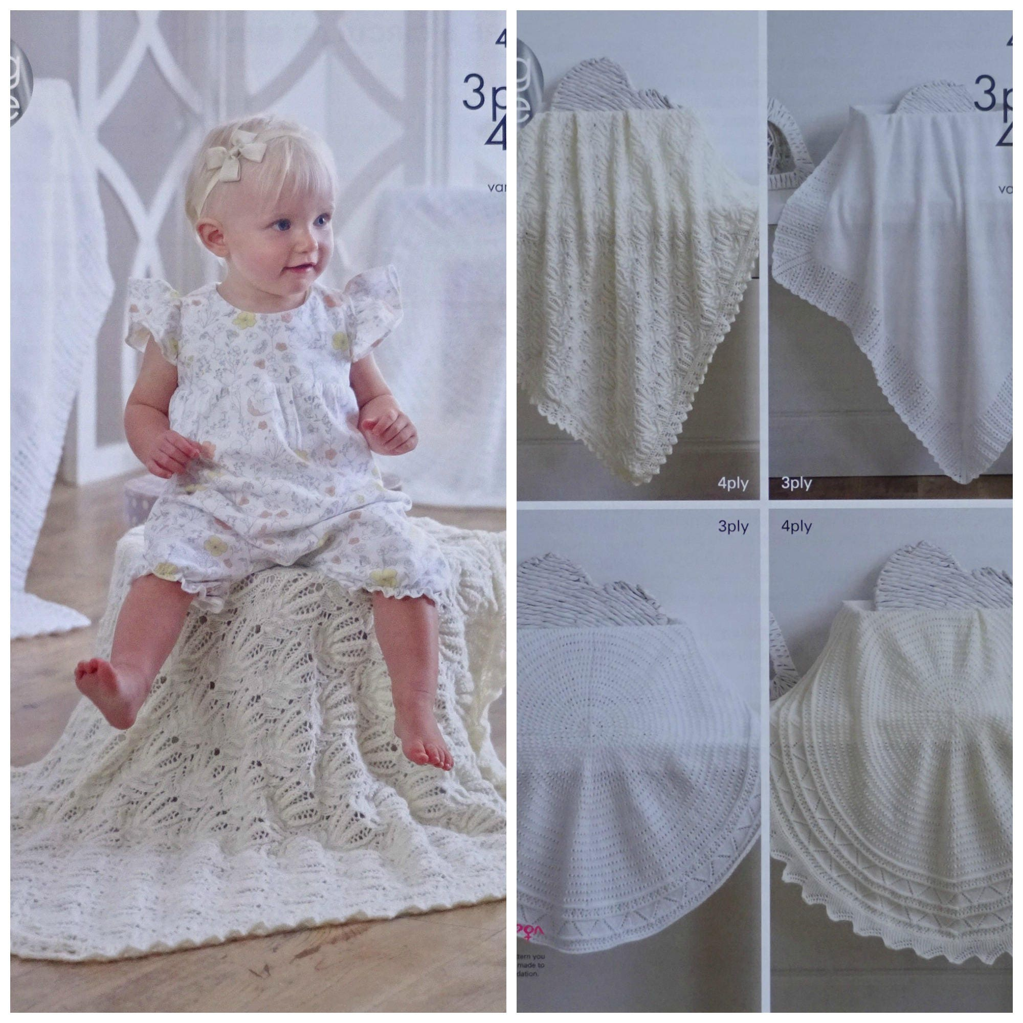 Baby Blanket Knitting Pattern K4943 Babies Circular or Square Lace ...