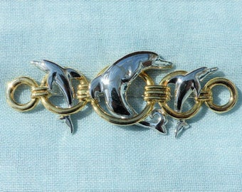 ACTV - Vintage 1980s Rhodium & Gold-plated Dolphins and Hoops Brooch