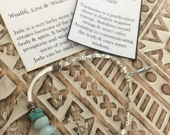 karen hill tribe sterling silver and jade bracelet
