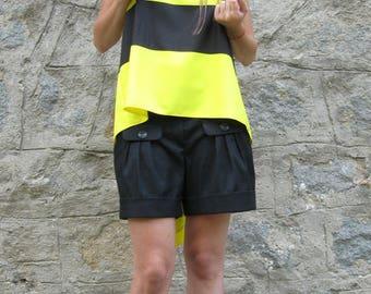 Black shorts, Loose bermuda shorts , Low rise shorts, Cotton shorts, Plus size shorts, Black short pants