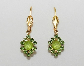 Vintage Style Lime Green Peridot Crystal gold tone Leverback Earrings