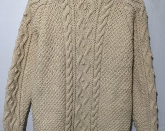 vintage turtle neck cable knit sweater fisherman handmade womens