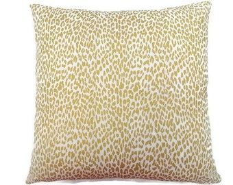 White and Metallic Gold Leopard-Invisible Zipper Pillow Cover-Bedroom-Living Room-Party-RV-Nursery-Couch-Custom Pillow Cover