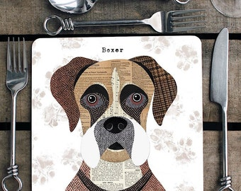 Boxer dog personalised placemat/coaster