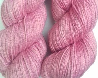 Hand dyed yarn, merino, 4ply, naturally dyed, sweet pink,MER500/P/3
