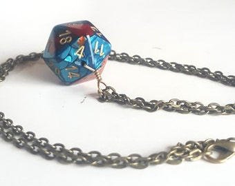 Dice Pendant Necklace - Teal and Red D20 Twenty Sided Dice Jewelry - Geeky Gamer Jewelry