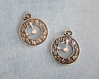 SALE 2 Silver Clock Charms 1501S