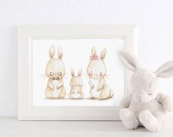 "Nursery Art ""FAMILY BUNNY"" Art Print, Nursery Illustration. Soft colours."