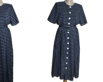 Vintage 80s navy white striped dress Blue silky dress robe tea dress pleated midi dress short sleeves belt dress button down summer dress