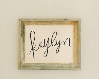 Custom Barn Wood Framed Print - Calligraphy Name