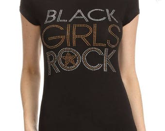 Black Girls Rock!! with Gold Star Rhinestone Shirt
