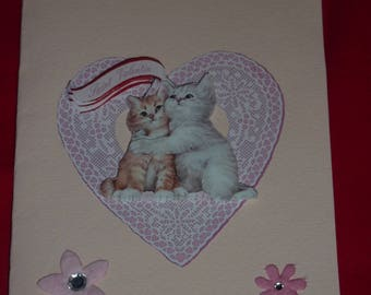 Valentine's Day card 3D couple cats