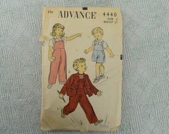 Advance Sewing Pattern 4440 Jacket, Blouse, Overalls from the 1940s
