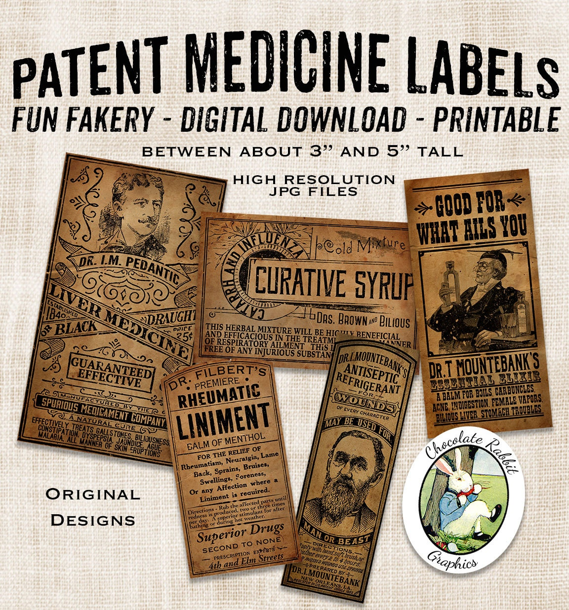 Lovely Quack Medicine Apothecary Bottle Labels Country Primitive MH07