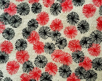 Fab 50s Floral Fabric with an Atomic Twist// Eames Era Atomic// Cotton Acetate Yardage// Light Upholstery// Drapery// New Old Stock// 44x102
