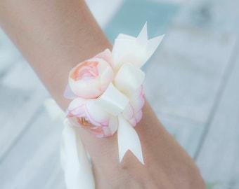 Blush Pink Peach Silk Wedding Flowers Corsage - Wrist Wedding Corsage - Mother Corsage